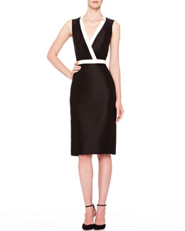 Carolina Herrera Two-Tone V-Neck Dress, Black/Ivory
