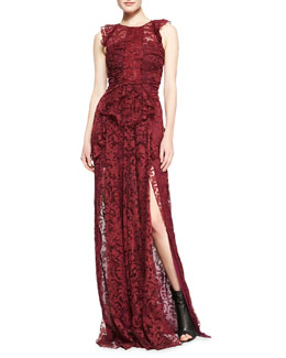 Burberry Prorsum Sleeveless Lace Gown with Thigh-High Vent, Deep Fuchsia