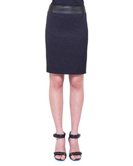 Faux-Leather-Waist Skirt, Navy