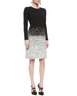 Oscar de la Renta Long-Sleeve Tweed-Skirt Dress