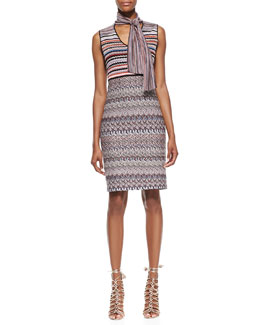 Missoni Sleeveless Tie-Neck Knit Dress, Red/Multi