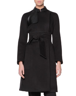 Giorgio Armani Obi-Belted Cashmere Coat with Leather Panels