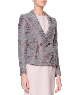 Giorgio Armani Sequined Boucle Shawl-Collar Jacket, Gray/Mauve