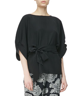 Etro Crepe de Chine Puff-Sleeve Blouse with Tie Waist