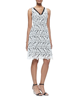 Erdem Elizabeth Sleeveless Floral Lace Dress, White