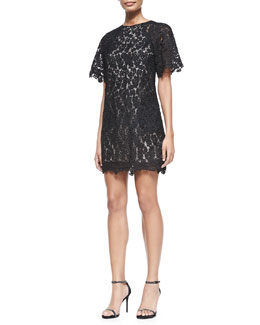 Erdem Aliya Trapeze Floral Lace Dress, Black