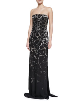 Roberto Cavalli Strapless Embellished Leopard Gown, Black