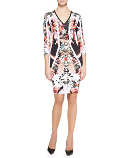 Roberto Cavalli Eden Mixed-Print Fitted Dress