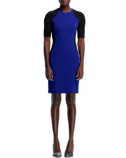 Stella McCartney Anita Contour Colorblock Sheath Dress, Blue/Black