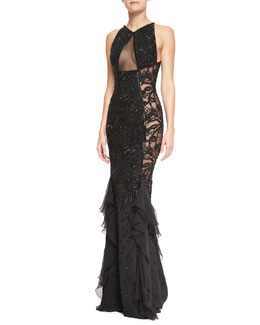 Emilio Pucci Beaded Lace & Sheer Panel Gown, Nero Black