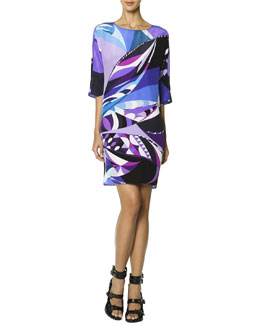 Emilio Pucci 3/4-Sleeve Printed Shift Dress, Multicolor