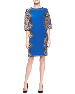 Etro Bell-Sleeve Side-Printed Tunic Dress