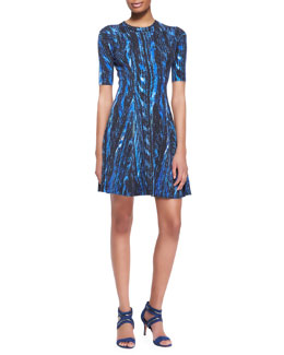 Kenzo Distortion-Print A-Line Dress