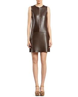 Gucci Chocolate Brown Bonded Leather Dress