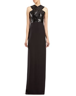 Gucci Black Silk and Python Gown
