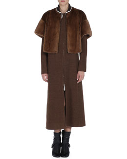 Fendi Long Wool Coat with Short-Sleeve Detachable Mink Fur Jacket