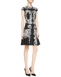 Erdem Dana Printed Cap-Sleeve Dress