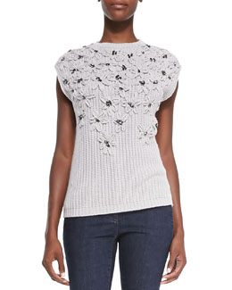 Brunello Cucinelli Cashmere Crystal Embroidered Sweater
