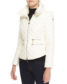 Moncler Fitted Quilted Jacket, Ivory