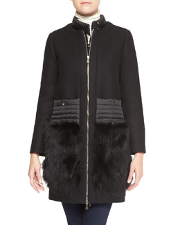 Moncler Long Collarless Jacket with Fur Patch Pockets