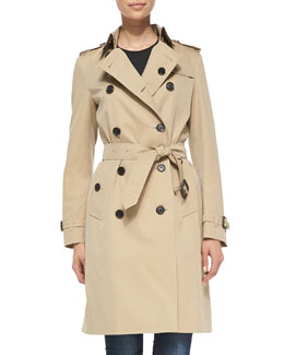 Burberry London Near-Knee-Length Double-Breasted Trench Coat, Honey
