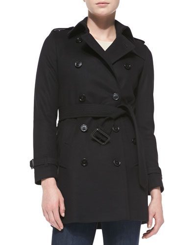 Double-Breasted Wool Trench Coat, Black