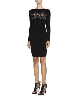 Emilio Pucci Long-Sleeve Dress with Zigzag Lace Inset