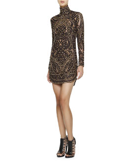 Emilio Pucci Studded Leather & Lace Turtleneck Dress