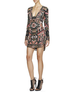 Emilio Pucci Long-Sleeve Beaded Southwestern-Print Dress