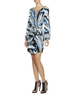 Emilio Pucci Long-Sleeve Feather-Print Dress with Chain-Strung Neck
