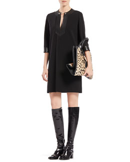 Gucci Viscose Jersey and Leather Horsebit Dress