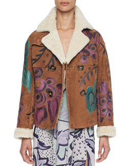Burberry Prorsum Hand-Painted Shearling & Suede Jacket