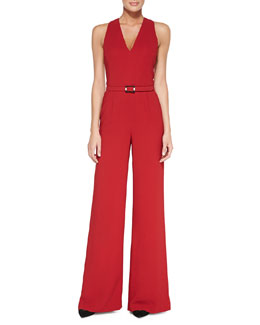 Ralph Lauren Black Label Charisse Sleeveless Belted Jumpsuit