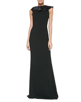 Ralph Lauren Black Label Venizia Ruffle-Detail Gown