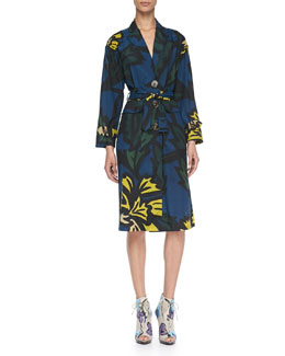 Burberry Prorsum Floral-Print Lightweight Silk Caban Coat