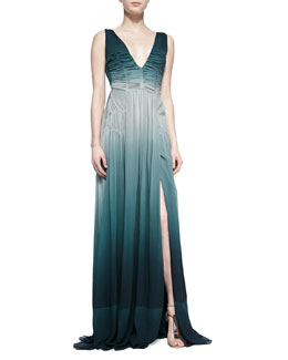 Burberry Prorsum Silk-Crepe Gathered Dress, Storm Green
