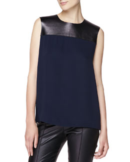 Burberry London Silk Blouse with Leather Yoke, Navy