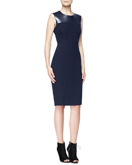 Burberry London Fitted Dress with Leather Yoke, Navy