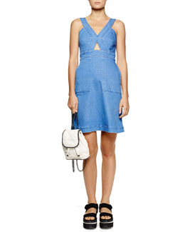 Stella McCartney Cutout Strappy Denim Dress, Blue