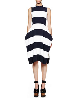 Stella McCartney Wide-Stripe Sleeveless Slit Dress