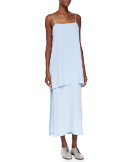Adam Lippes Midi Double-Layer Cami Dress, Blue Quartz