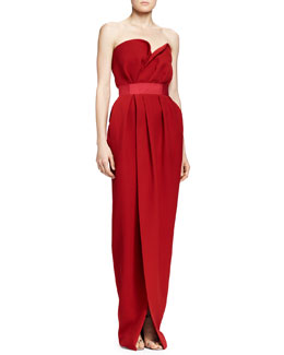Lanvin Silk Strapless Sweetheart Gown, Carmine Red