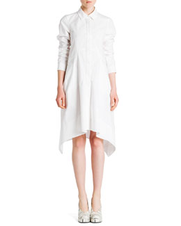 Jil Sander Long-Sleeve Button-Front Shirtdress, White
