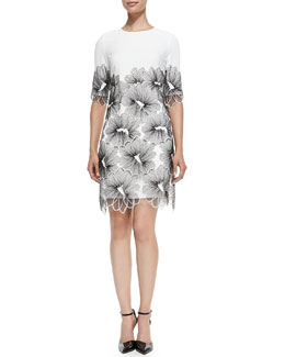 Lela Rose Lace-Applique Tunic Dress