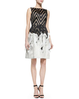 Lela Rose Sleeveless Dress with Fringed Skirt