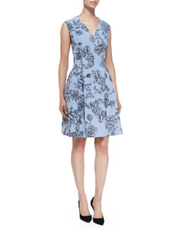 Lela Rose Floral Dress with Hidden Zip Front, Sky Blue