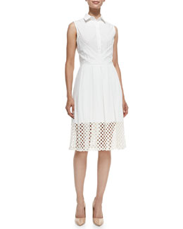 Lela Rose Lace-Hem Stretch-Cotton Shirtdress
