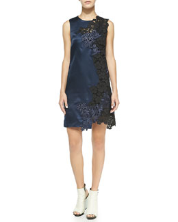 3.1 Phillip Lim Sleeveless Satin & Lace Dress, Navy