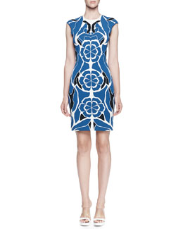 Alexander McQueen Floral-Jacquard Fitted Sheath Dress