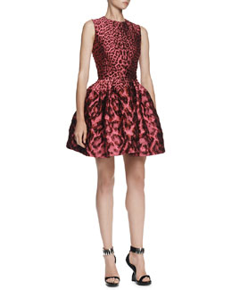 Alexander McQueen Leopard Brocade Pouff Dress
